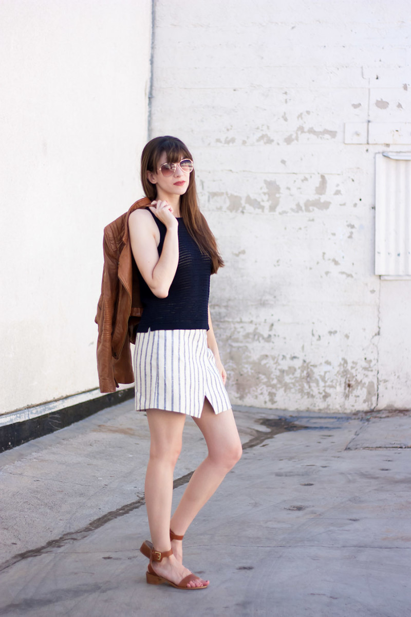Madewell Knit tank and linen wrap skirt outfit