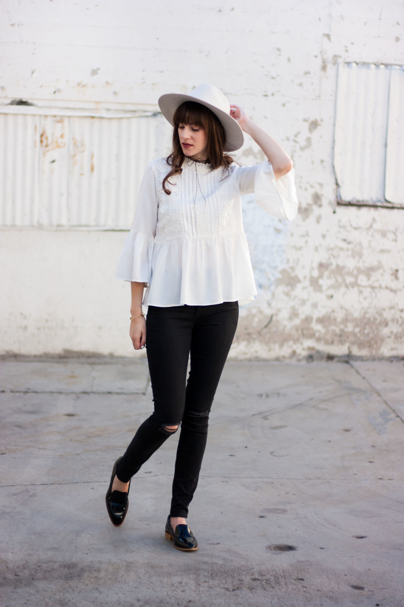 Jeans and a Teacup Style Blogger wearing a zara blouse, Kin K hat and everlane loafers