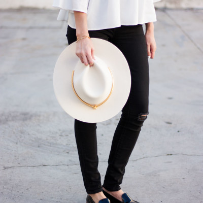 White Wool Kin K Hat with Everlane Patent Leather Loafers
