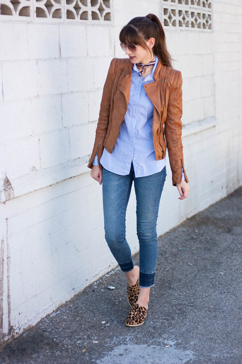 Style blogger wearing zara leather jacket