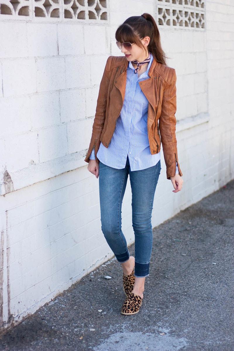Style blogger wearing zara leather jacket
