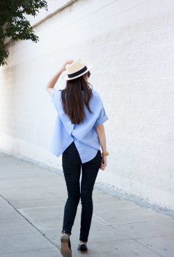 Madewell Button Back Top with black skinny jeans and Everlane Patent Loafers