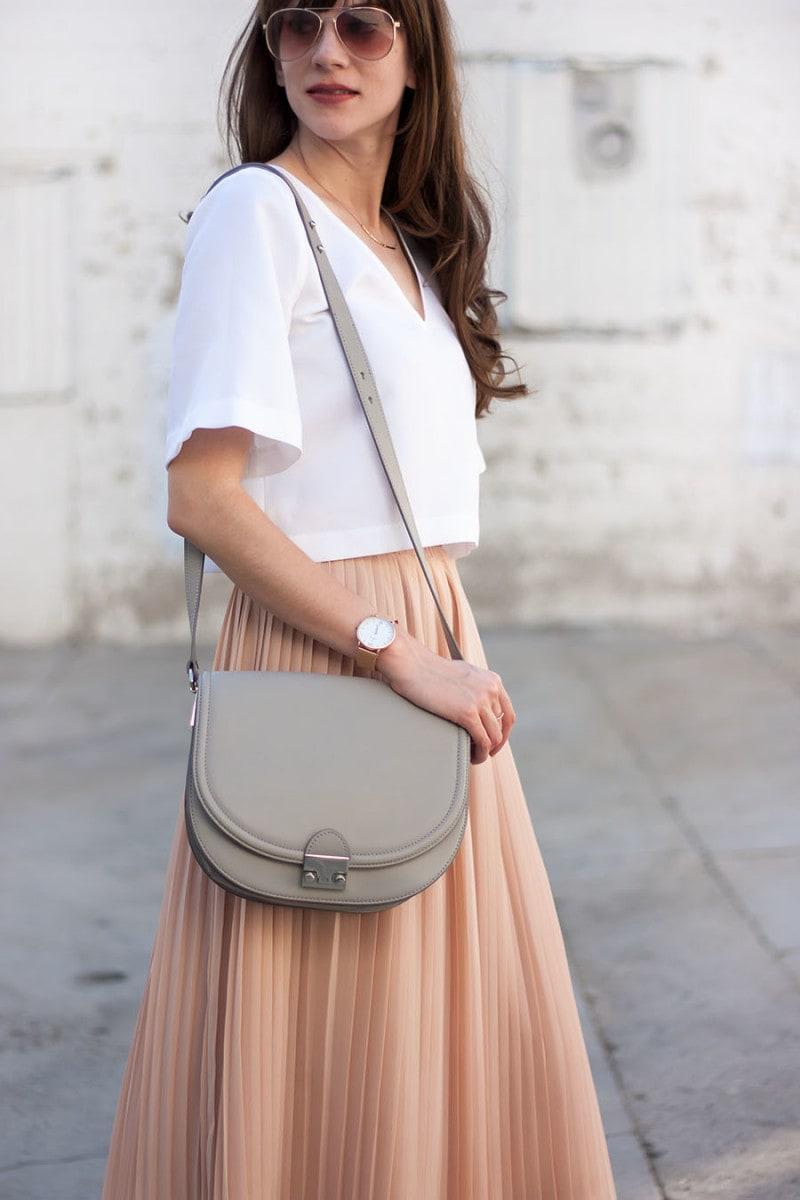 Loeffler Randall Bag, Blush Pleated Skirt