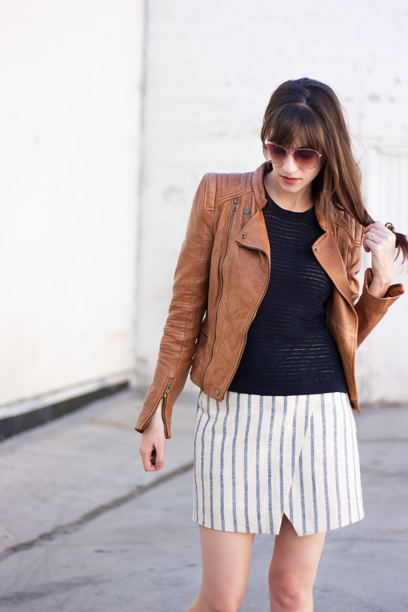 Navy Knit tank and cognac leather jacket outfit