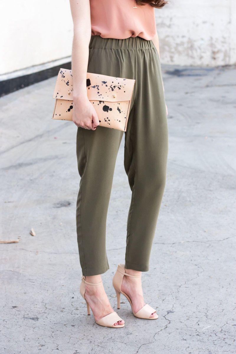 Olive Green Silk Pants and Speckled Leather Clutch