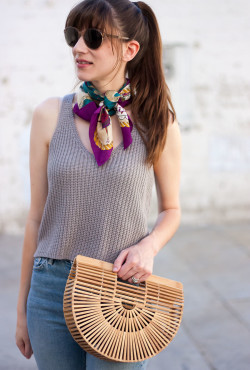 Silk neck scarf outfit with Cult Gaia Ark Bag
