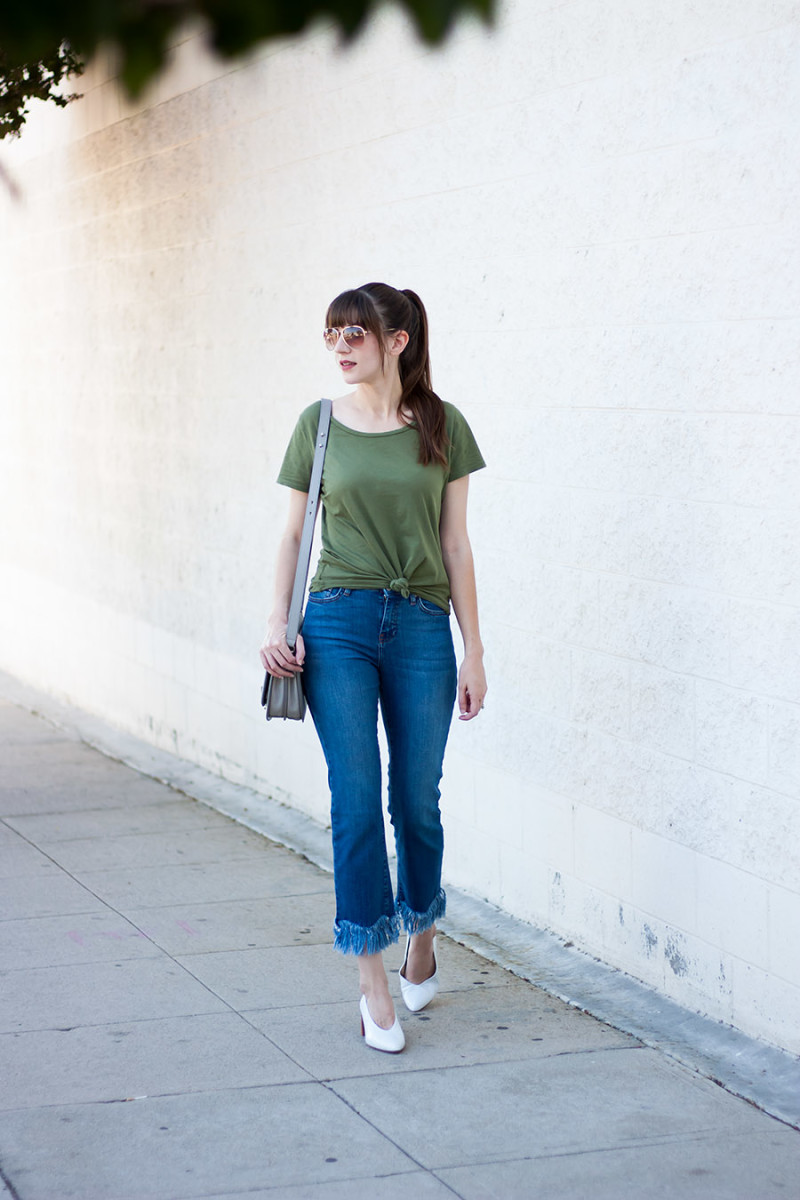 Los Angeles Style Blogger wearing Fringe Hem Jeans