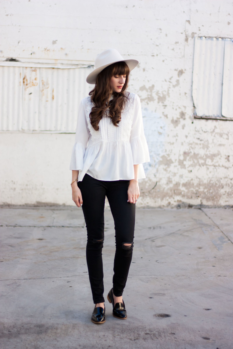 Los Angeles Style Blogger wearing Kin K white wool hat and zara blouse
