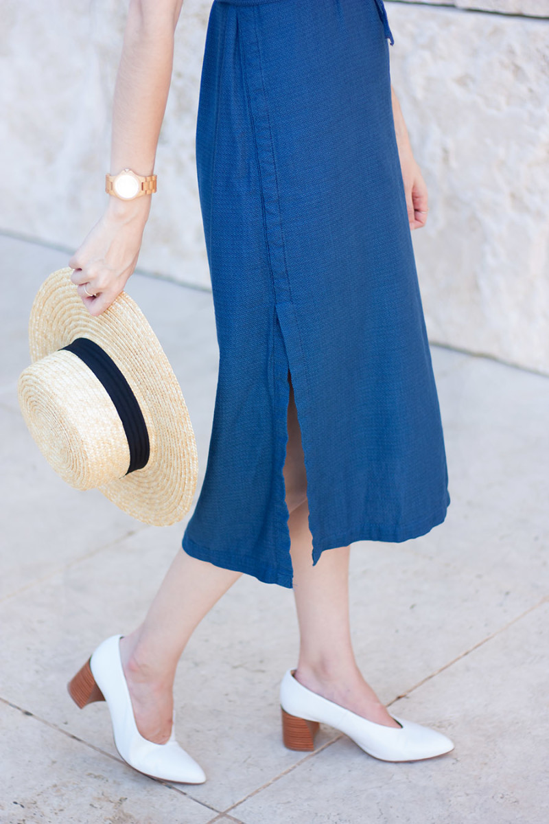Zara leather mid heels, straw hat and denim midi dress