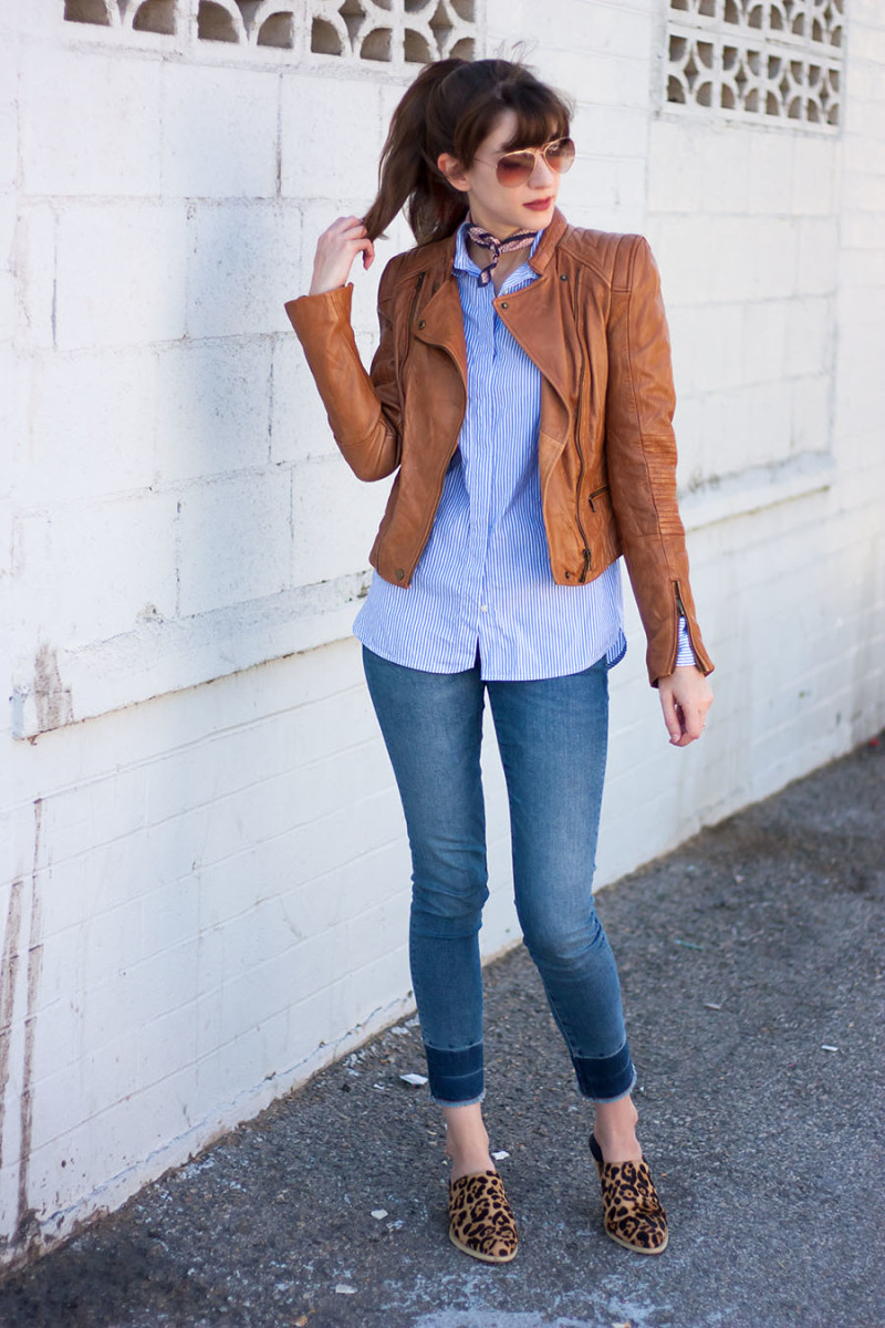 Jeans and a Teacup style blogger wearing a zara leather jacket and marais leopard mules
