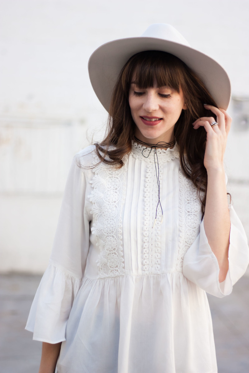 White embroidered blouse from zara with DIY leather choker necklace.