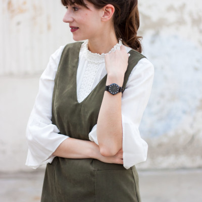Style Blogger wearing white blouse, green suede dress and Christian Paul Watch