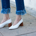 Zara white leather mid heel shoes and Topshop Fringe Hem Jeans