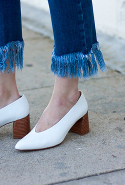Zara white leather mid heel shoes and Topshop Fringe Hem Jeans