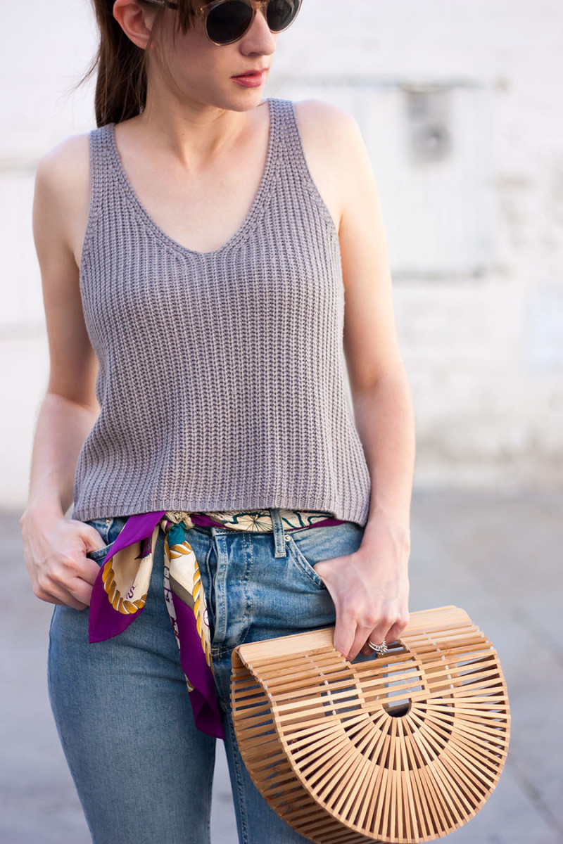 Los Angeles style blogger with silk scarf as a belt