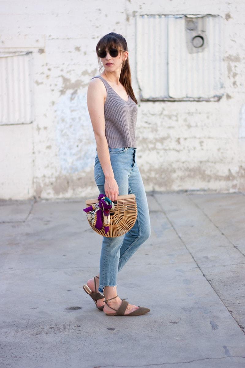 Silk scarf as handbag accessory