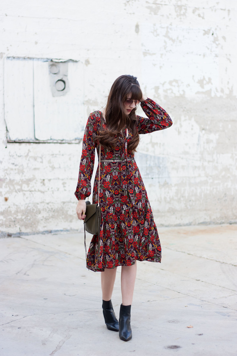 Style Blogger wearing ASOS floral Midi Dress and Marc Fisher Booties
