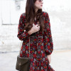 Los Angeles Fashion Blogger wearing a red floral midi dress and Rebecca Minkoff Olive crossbody bag.