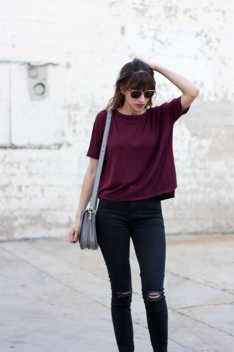Minimalist Style Blogger wearing a Grana lightweight burgundy sweater.