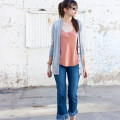 Style Blogger wearing Grana silk top and fringe hem jeans