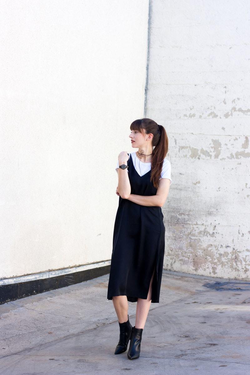 Style Blogger Wearing Black Slip Dress And White Tee