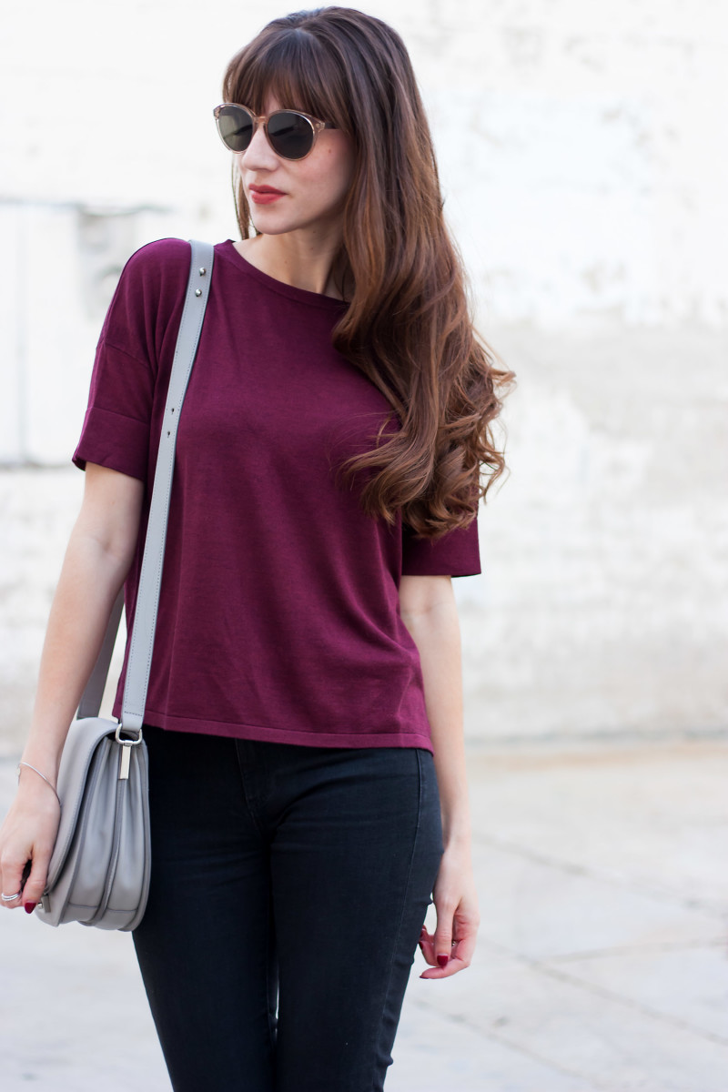 Jeans and a Teacup Fashion Blogger wearing lightweight knitwear from Grana and Loeffler Randall Crossbody Bag