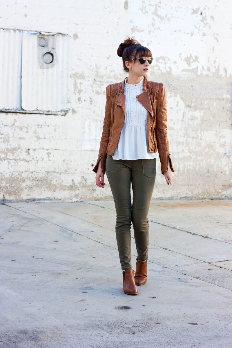 Los Angeles Style Blogger wearing Zara Leather Jacket and Blouse