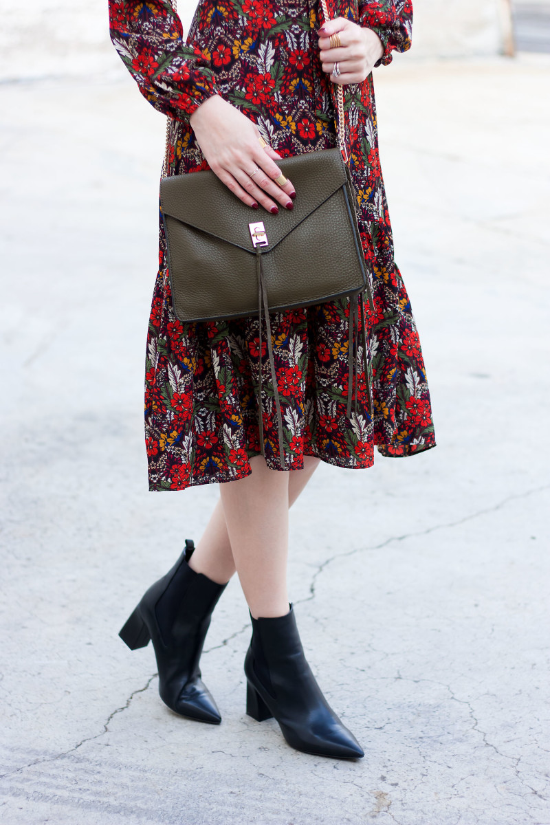 70's inspired outfit with floral midi dress, black mid ankle booties and Rebecca Minkoff Crossbody bag.