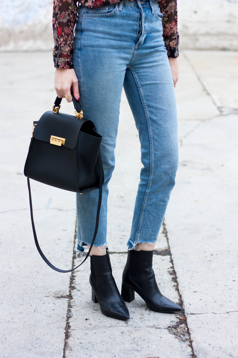 Style Blogger wearing Marc Fisher Zanna Booties and Marc Fisher Convertible Backpack