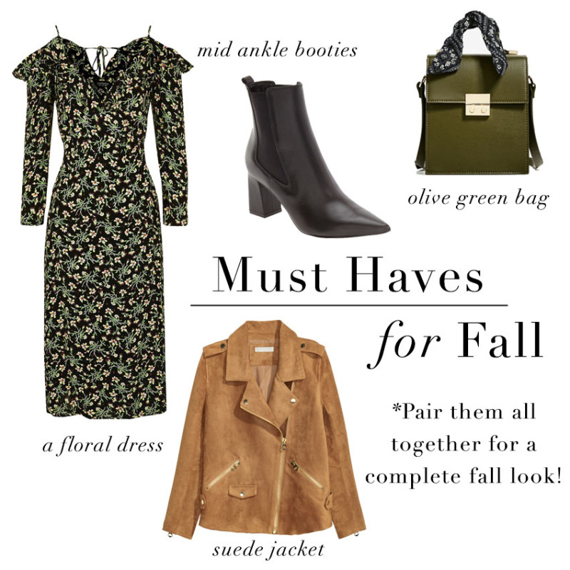 fall wardrobe staples collage include floral dresses, ankle booties, olive bags and suede jackets
