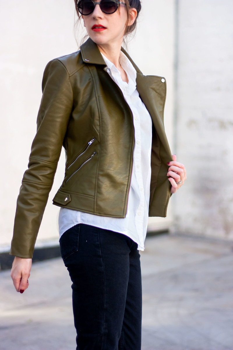 Los Angeles Style Blogger wearing Zara leather jacket and Jins Sunglasses