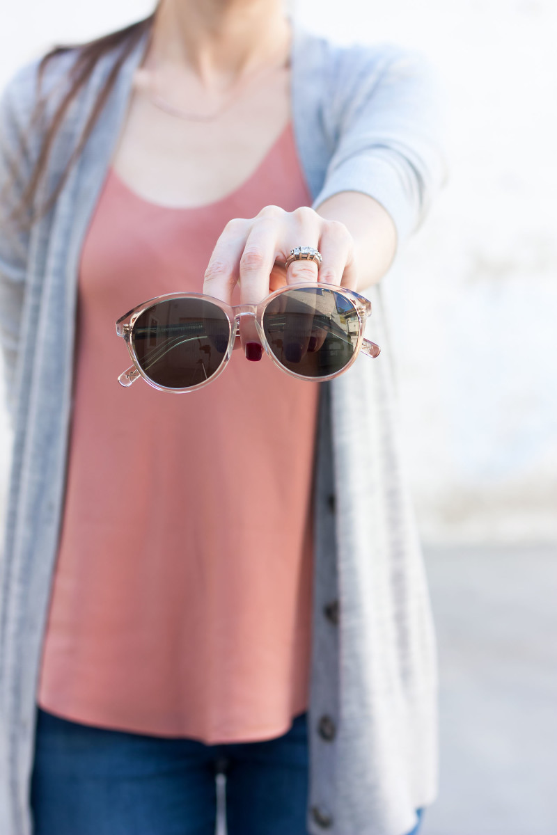 Jessica from Jeans and a Teacup wearing Shwood wood sunglasses