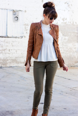 Fashion Blogger wearing Cognac Moto Jacket and White Zara Blouse