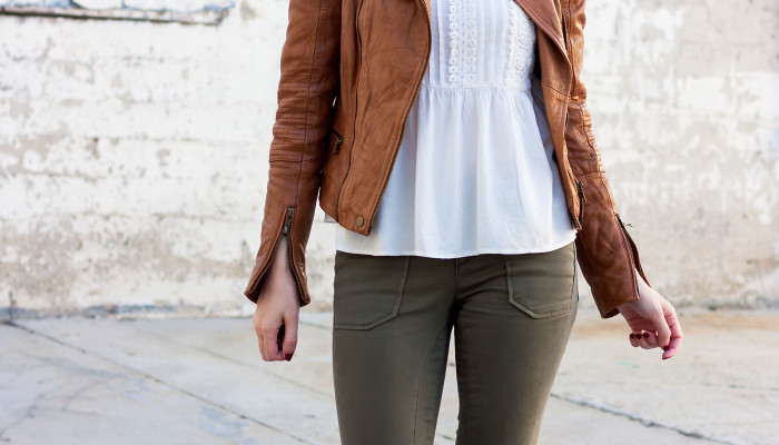 Tan Leather Jacket and Booties