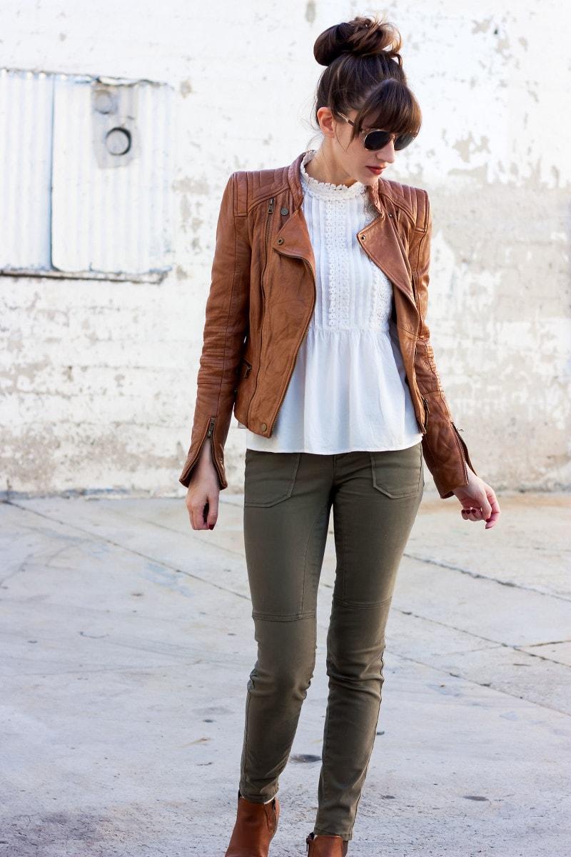 Fashion Blogger wearing Cognac Moto Jacket and White Zara Blouse