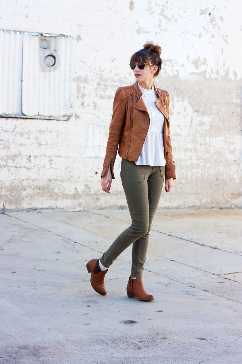 Style Blogger wearing Zara Tan Leather Jacket and Steve Madden Booties