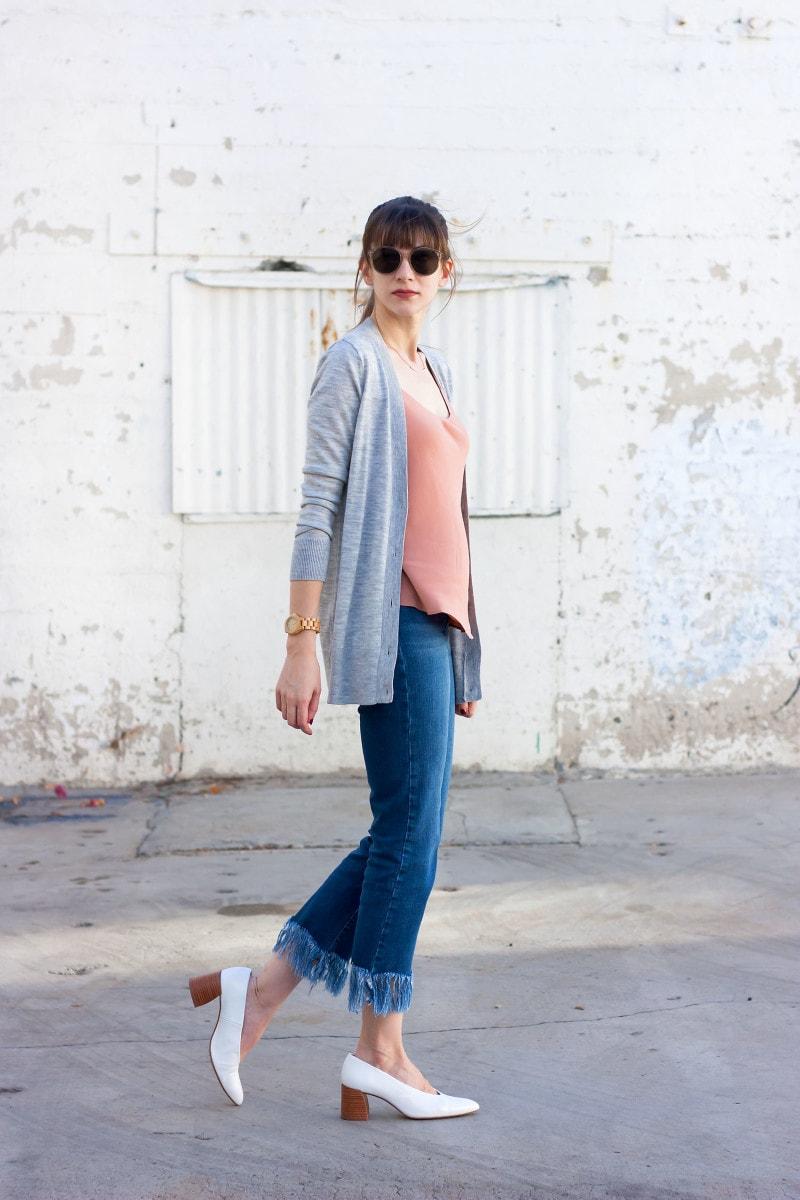 Minimalist Style Blogger wearing Crop Fringe Hem Jeans and Grana silk tank