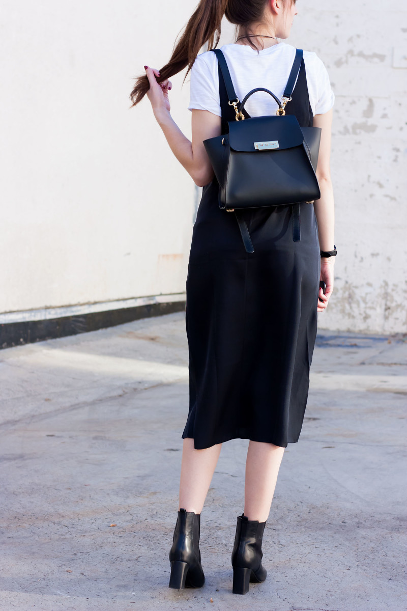 Los Angeles Style Blogger wear a Zac Posen Convertible backpack and Grana Silk Slip Dress