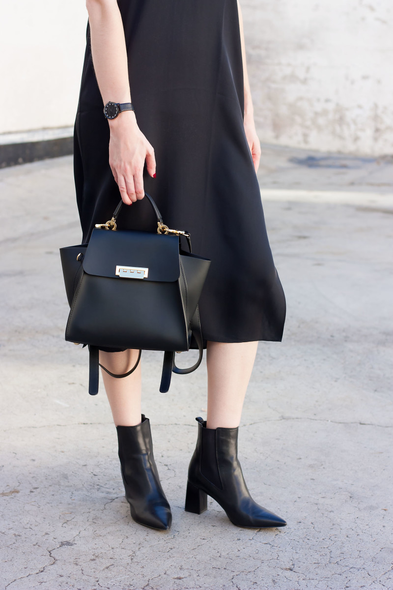 Minimalist Style Blogger wearing a Zac Posen Convertible backpack, Marc Fisher booties, black slip dress