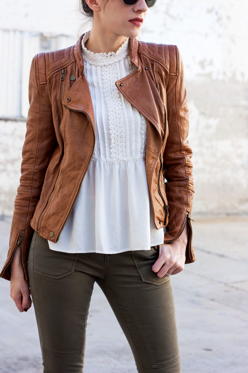 Jeans and a Teacup Fashion Blogger wearing Tan Leather jacket and White Blouse