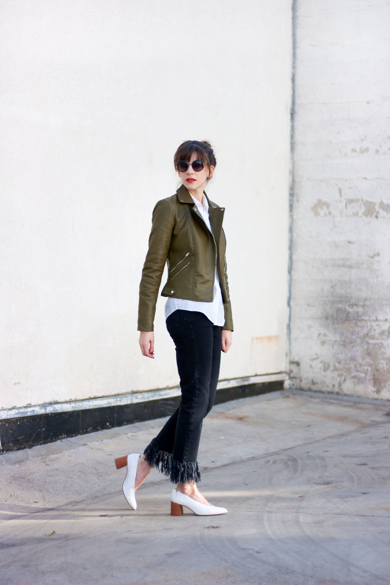 Los Angeles Fashion Blogger wearing Zara olive leather jacket and topshop jeans
