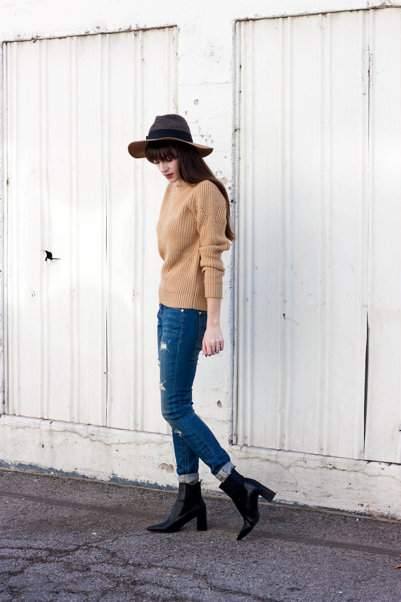 Jeans and a Teacup styling JAG jeans and Banana Republic Camel Sweater