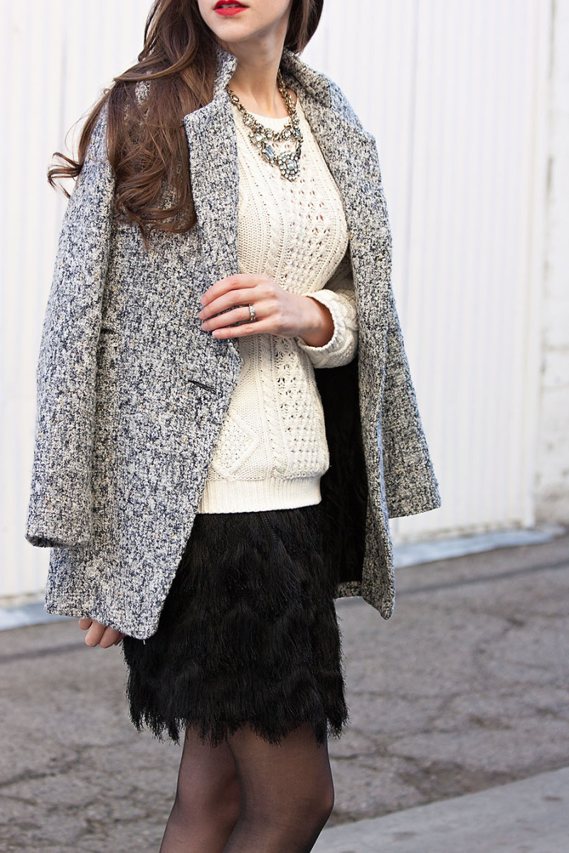 Jeans and a Teacup wearing a feathery fringe skirt, metallic tweed coat holiday outfit