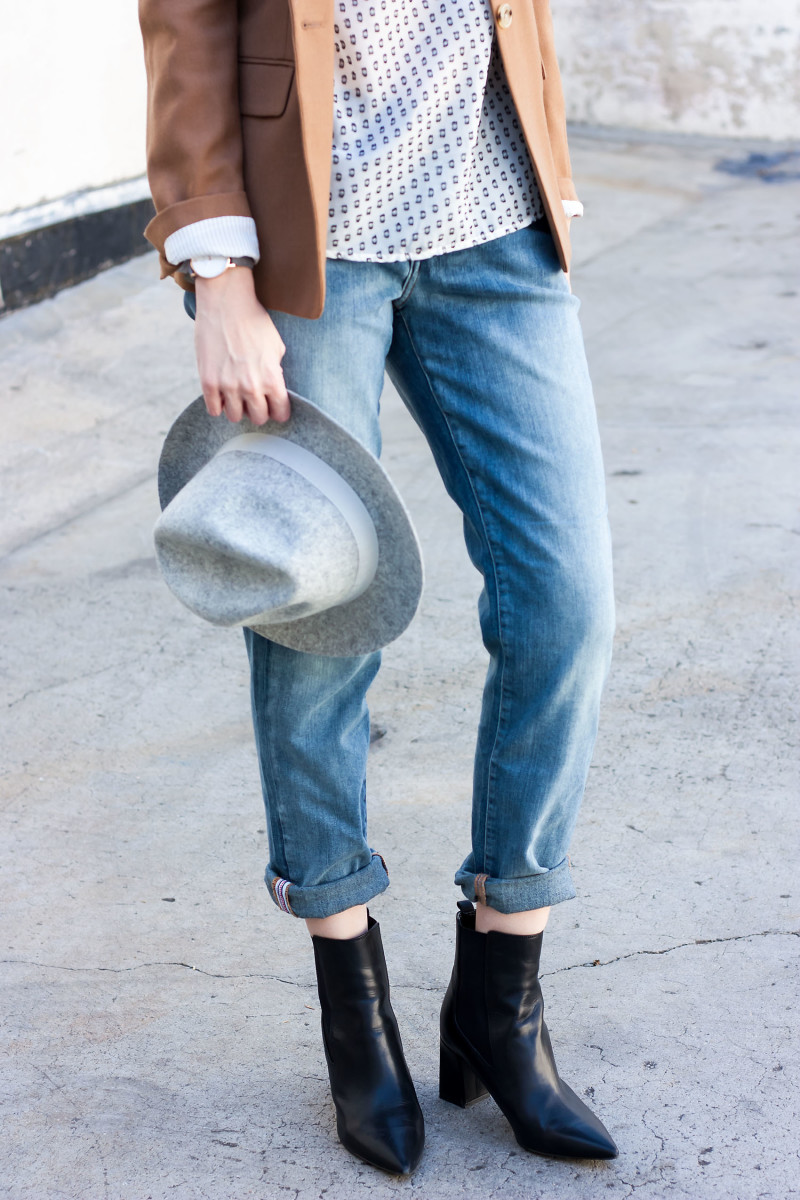 Los Angeles Fashion Blogger wearing JAG Boyfriend Jeans and J.Crew Felt Hat