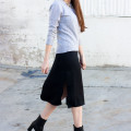 Los Angeles Fashion Blogger wearing Grana Mongolian Cashmere Sweater and Slip Dress
