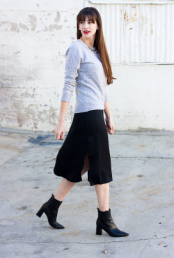 Los Angeles Fashion Blogger wearing Grana Mongolian Cashmere Sweater and Slip Dress