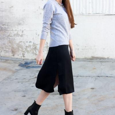 Cashmere Sweater + Silk Dress