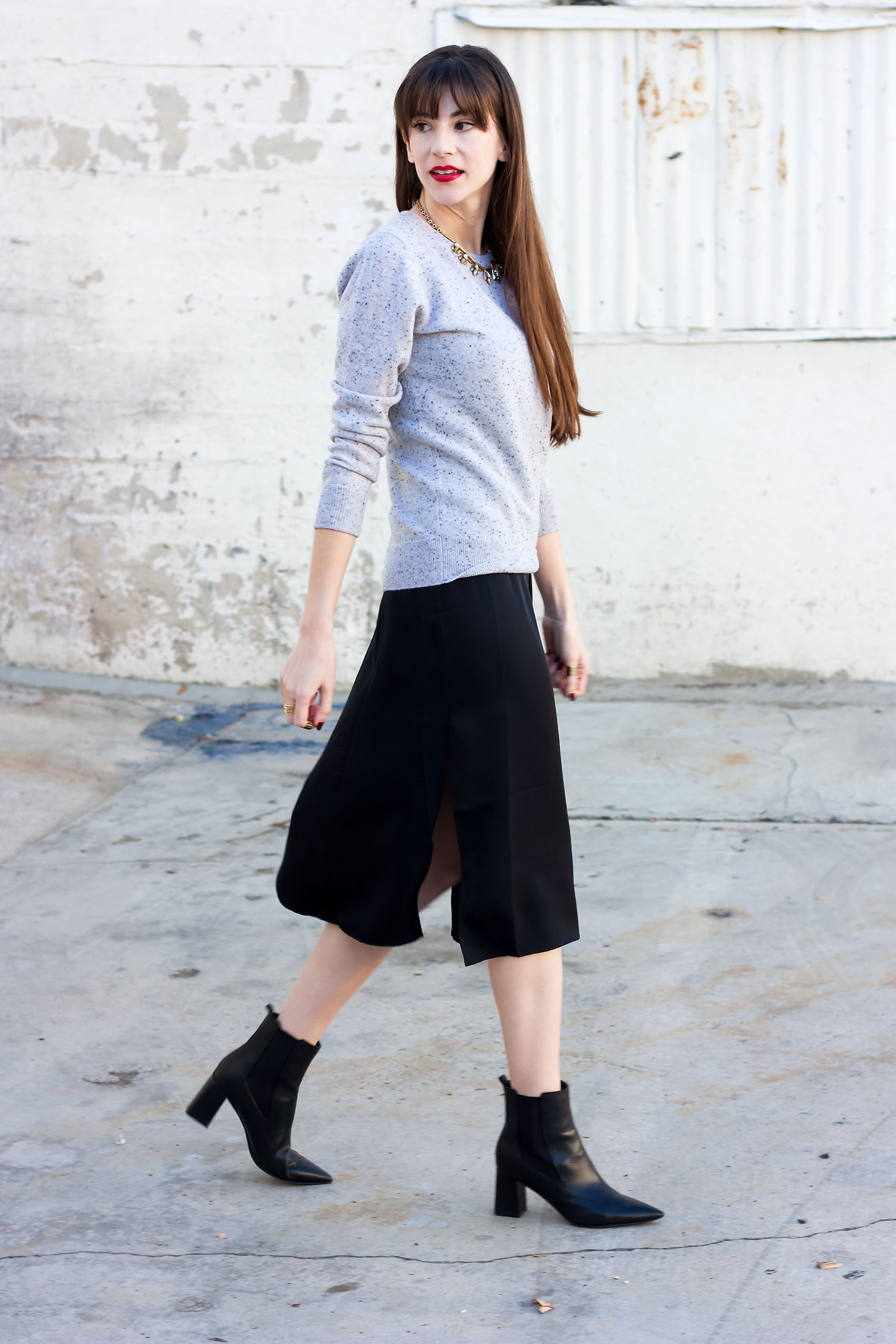 0a3fe45e4eb3c6 Cashmere Sweater + Silk Dress