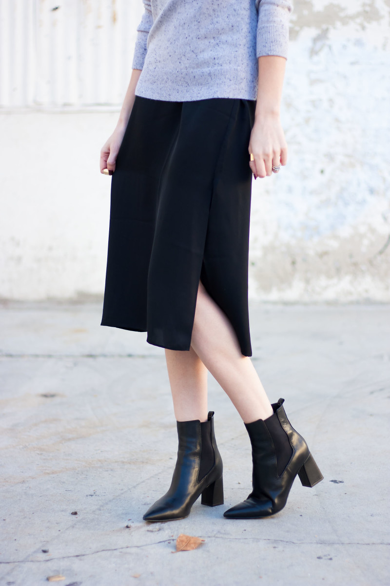 Jeans and a Teacup wearing Grana Silk Slip Dress and Marc Fisher Booties