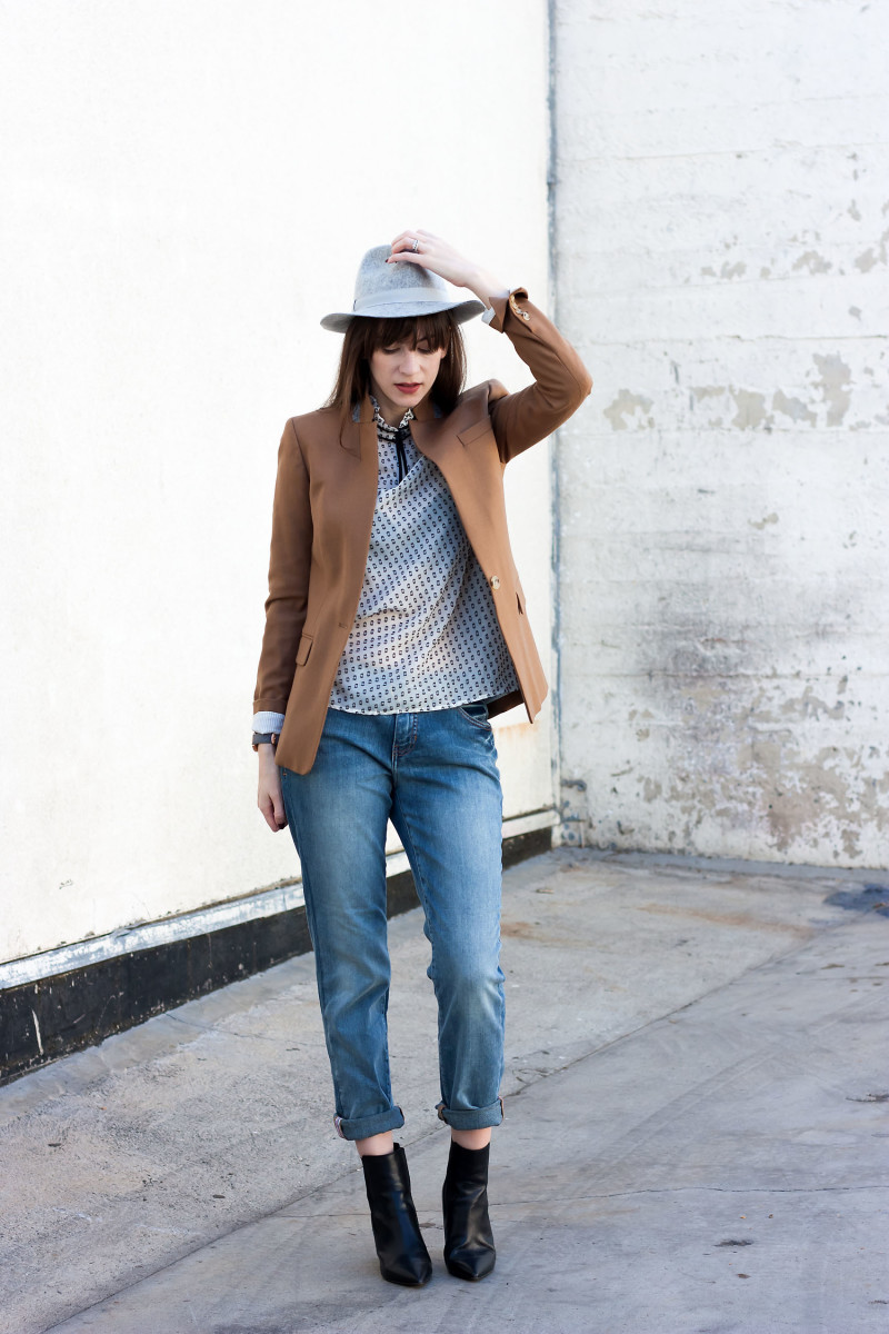 Jeans and a Teacup wearing boyfriend jeans, Marc Fisher Booties and J.Crew Blazer